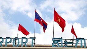 Laos national flag stock footage