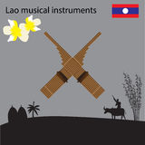 Laos National Musical Instrument, national flower of Laos. Vector illustration Royalty Free Stock Images