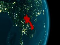 Laos at night. Illustration of Laos as seen from Earth's orbit at night. 3D illustration. Elements of this image furnished by NASA Stock Photo