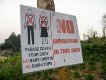 Laos No Sunbathing in the Area Stock Photography