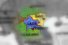 Lao People`s Democratic Republic. Laos, officially the Lao People`s Democratic Republic black and white selective focus stock image