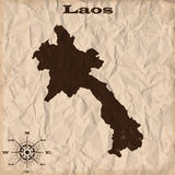 Laos old map with grunge and crumpled paper. Vector illustration Stock Image