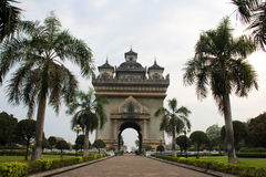 Laos. Patuxai, which stands in the center of Vientiane, Laos royalty free stock image