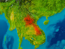 Laos on physical map Stock Photo