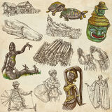 Laos. Pictures of Life. Colored freehands on old paper. Royalty Free Stock Image