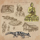 Laos. Pictures of Life. Colored vector pack. Stock Images