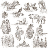 Laos. Pictures of Life. Freehands on white. Royalty Free Stock Images