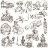 Laos. Pictures of Life. Freehands on white. Stock Photography