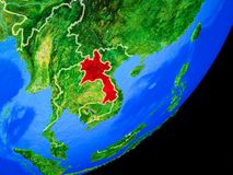 Laos on Earth from space vector illustration