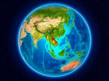 Laos on Earth. Laos in red from Earth's orbit. 3D illustration. Elements of this image furnished by NASA Stock Photo