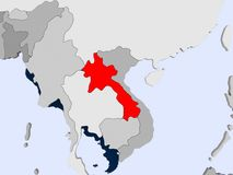 Map of Laos. Laos in red on political map with transparent oceans. 3D illustration Stock Images