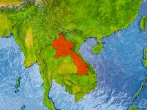 Map of Laos. Laos in red on realistic map with embossed countries. 3D illustration. Elements of this image furnished by NASA Stock Image