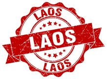 Laos seal. Laos round ribbon seal isolated on white background Stock Images