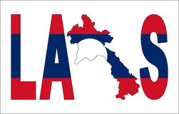Laos text with map. On flag illustration Stock Photography
