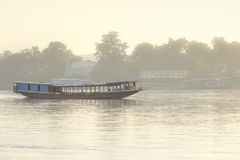 laos transporttation boats on the Mekong river royalty free stock photography