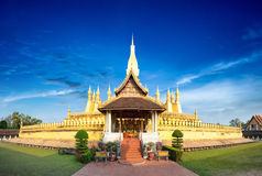 Laos travel landmark, golden pagoda wat Phra That Luang. In Vientiane. Buddhist temple. Famous tourist destination in Asia Stock Photography