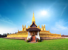 Laos travel landmark, golden pagoda wat Phra That Luang Royalty Free Stock Image