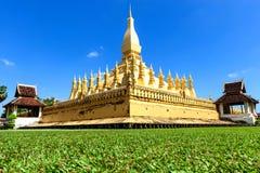 Laos travel landmark, golden pagoda wat Phra That Luang in Vientiane. Stock Image