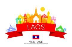 Laos Travel Landmarks and flag. Stock Photo
