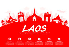 Laos Travel Landmarks. Vector and Illustration Royalty Free Stock Photos