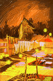 Laos, Vientiane at night colorful illustration. My illustration inspired from photograph. I repaint it in different way to make the color outstanding and at the royalty free illustration