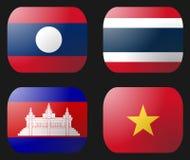 Laos Vietnam Cambodia Thailand Flag Stock Images