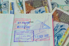 Laos visa. And Laos money Royalty Free Stock Images