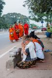 The monks of Laos. In Laos, where all people believe in Buddhism, a man must experience being a monk once in his life. Monks are a socially respected occupation Royalty Free Stock Photo