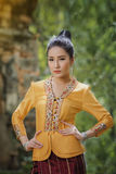 Laos woman. Beautiful Laos girl in  costume,Asian woman wearing traditional Laos culture,vintage style,traditional suit Stock Photos