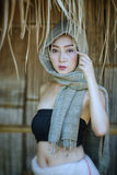 Laos woman. Beautiful Laos girl in Laos costume.Lao traditional dress of a beautiful woman royalty free stock image