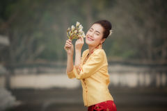 Laos woman in Laos traditional dress royalty free stock images