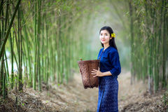 Laos woman look with hope to the basket Royalty Free Stock Photography