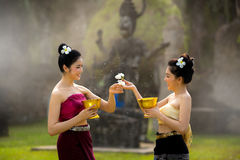 Laos girls splashing water durin tradition festival Laos Vientiane, Songkran festival 2017 stock photos