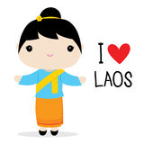 Laos Women National Dress Cartoon Vector Royalty Free Stock Image