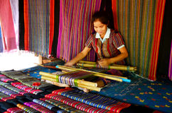 Laos women people weave cloths and sell cloth for show and sale Royalty Free Stock Image