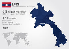 Laos world map with a pixel diamond texture. Stock Photography