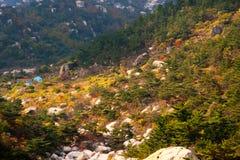 Laoshan mountains beautiful autumn scenery of China. The beautiful autumn scenery, filming the Qingdao laoshan  mountain scenic spot in China Royalty Free Stock Images