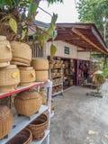 Laotian ethnic woven Bamboo baskets. Luang Phabang, Laos, Asia stock photo