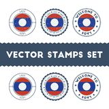 Laotian flag rubber stamps set. Stock Photo