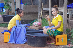 Laotian girls are resting in duration of working Stock Images