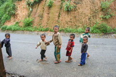 Laotian Hmong children in a village Royalty Free Stock Images