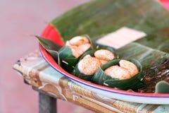 Laotian meat in a banana leaf, Luang Prabang, Laos. Close-up. Stock Photos