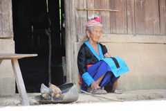 Laotian old woman stock images