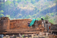 Laotian worker people renovate and repair archaeological site Wa Stock Photo