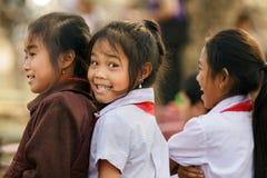 Laotianisches Porträt der kleinen Mädchen Stockfotos