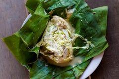 Laotisk ångad fisk Mok Pa royaltyfria bilder