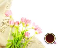 Lap blanket, cup of tea and flower bouquet. Copyspace, flatlay Stock Photos