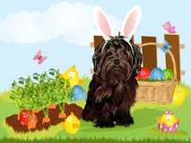 Lap dog dressed with bunny easter ears isolated on white background. Vector illustration royalty free illustration