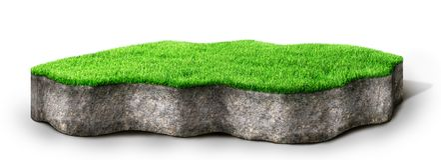 Lap grond met gras wordt behandeld dat stock afbeeldingen