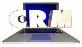 Lap-top διοικητικού λογισμικού σχέσης πελατών CRM διανυσματική απεικόνιση